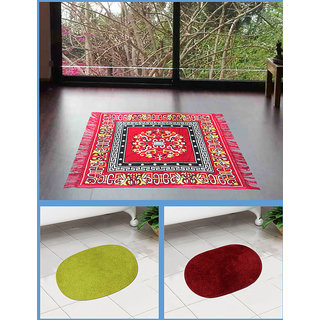 Azaani beautiful jute red seating mat with two oval cotton bathmat,AZ1REDSITTINGMATWITH2OVALBATHMAT-4
