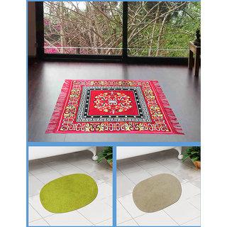Azaani beautiful jute red seating mat with two oval cotton bathmat,AZ1REDSITTINGMATWITH2OVALBATHMAT-9