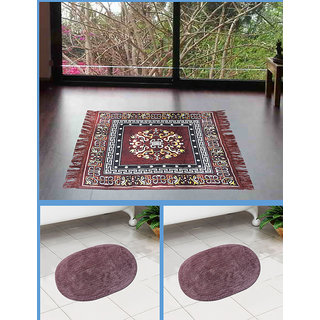 Azaani beautiful jute brown seating mat with two oval cotton bathmat,AZ1BROWNSITTINGMATWITH2OVALBATHMAT-1