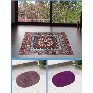 Azaani beautiful jute brown seating mat with two oval cotton bathmat,AZ1BROWNSITTINGMATWITH2OVALBATHMAT-7