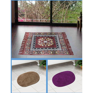 Azaani beautiful jute brown seating mat with two oval cotton bathmat,AZ1BROWNSITTINGMATWITH2OVALBATHMAT-15