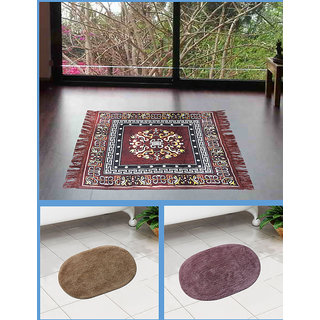 Azaani beautiful jute brown seating mat with two oval cotton bathmat,AZ1BROWNSITTINGMATWITH2OVALBATHMAT-18