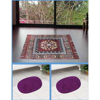 Azaani beautiful jute brown seating mat with two oval cotton bathmat,AZ1BROWNSITTINGMATWITH2OVALBATHMAT-32