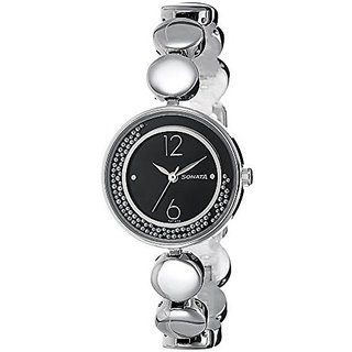 Sonata Quartz Black Dial Women Watch-8136SM04