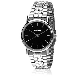 Sonata Quartz Black Dial Mens Watch-7987SM04
