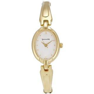 Sonata Quartz White Dial Women Watch-8048YM01