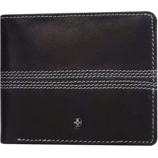 JL Collections 6 Card Slots Men's Black and Brown Leather Wallet