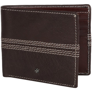 JL Collections 6 Card Slots Men's Brown Leather Wallet