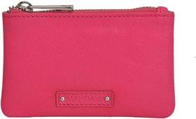 Mandava Genuine Safiano Leather Pink Unisex Key Chain Pouch