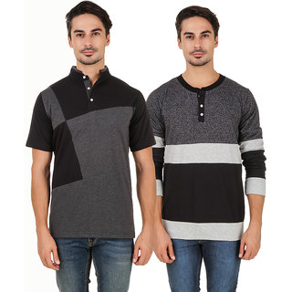 Aurelio Marco Multi Henley T-Shirt Pack of 2