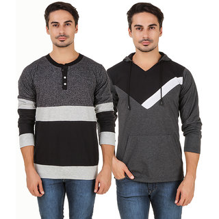Aurelio Marco Grey Printed Cotton V-Neck Casual T-Shirt Pack of 2 for Men
