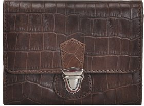 Mandava Genuine Croco Printed Leather Brown Ladies Wallet