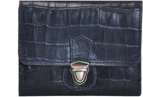 Mandava Genuine Leather Croco Printed Leather Dark Blue Ladies Wallet