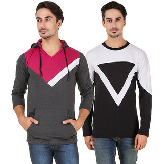 Aurelio Marco Multi V-Neck T-Shirt Pack of 2