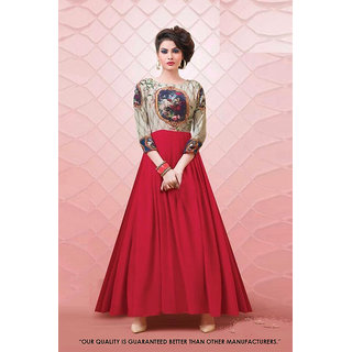 1 Stop Fashion Cream  Red Georgette  DigitalPrinted Festivewear Full Stitched Gown Suit-71281