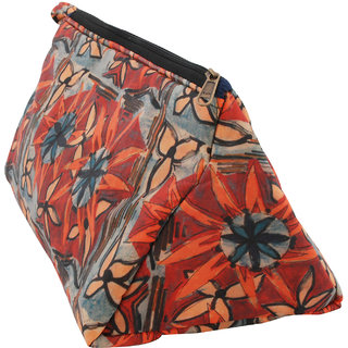 Indha Craft Leave Print Multi utility Pouch (Orange Color)