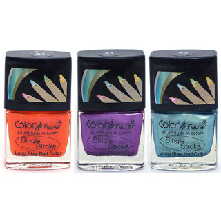 Color Fever Ultra Sparkle Nail Color - Orange/Purple/Green Pack of 3 (0.90 Oz)
