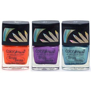 Color Fever Ultra Sparkle Nail Color - Orange/Purple/Green Pack of 3 (0.90 Oz)