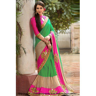 1 Stop Fashion Multicolor Silk Embroidered Saree With Blouse