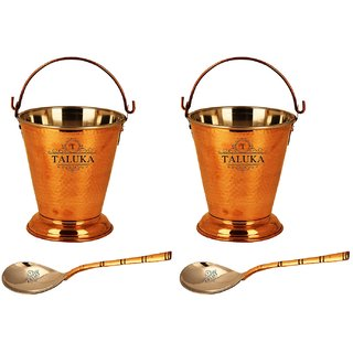 Taluka (5 x 6 inches approx) 2 Steel Copper Bucket - 400 ML with 2 Spoon - Serving Dal, Vegetable, - Home, Hotels, Restaurants, Gift Item