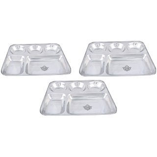 Taluka (13 x 10.7x1 inches) Pure Stainless Steel 5 in 1 Compartment Plate Thali Bhojan Thali Steel Plate Food Dinner Snacks Plate OF 3