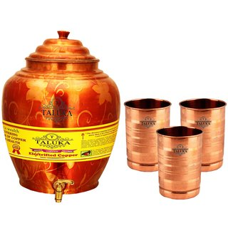 Taluka T-APPWP-STG3P Copper 16 Liter Water Pot With 3 Copper Glass
