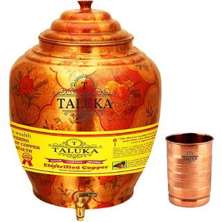 Taluka T-APPLWP-STG1P Copper 16 Liter Water Pot With 1 Copper Glass