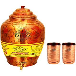 Taluka T-APPLWP-STG2P Copper 16 Liter Water Pot With 2 Copper Glass