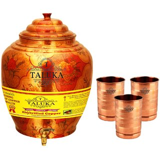 Taluka T-APPLWP-STG3P Copper 16 Liter Water Pot With 3 Copper Glass