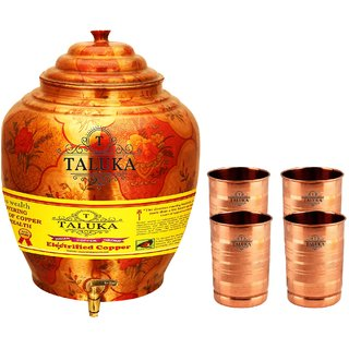 Taluka T-APPLWP-STG4P Copper 16 Liter Water Pot With 4 Copper Glass