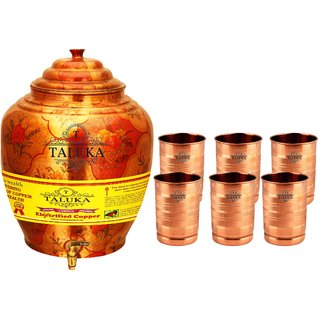 Taluka T-APPLWP-STG6P Copper 16 Liter Water Pot With 6 Copper Glass