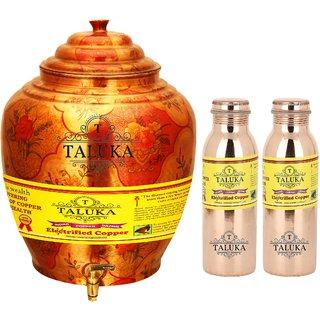 Taluka T-APPLWP-8MLJLBC2P Copper Water Pot 16 Liter With Set 2 (800) ML Leak Proof Water Bottle