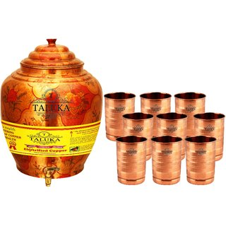 Taluka T-APPLWP-STG9P Copper 16 Liter Water Pot With 9 Copper Glass
