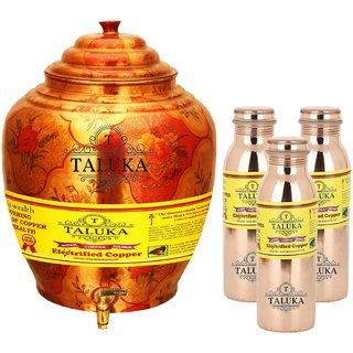 Taluka T-APPLWP-8MLJLBC3P Copper Water Pot 16 Liter With Set 3(800) ML Leak Proof Water Bottle