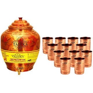 Taluka T-APPLWP-STG12P Copper 16 Liter Water Pot With 9 Copper Glass