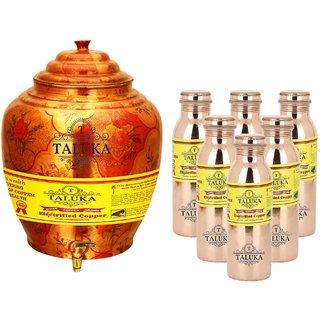 Taluka T-APPLWP-8MLJLBC6P Copper Water Pot 16 Liter With Set 6 (800) ML Leak Proof Water Bottle