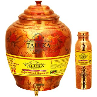 Taluka T-APPLWP-1LHJLBC1P Copper Water Pot 16 Liter With Set 1000 ML Hammer Leak Proof Bottle
