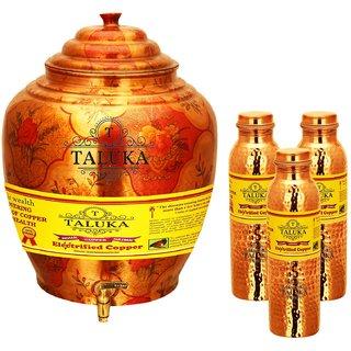 Taluka T-APPLWP-1LHJLBC3P Copper Water Pot 16 Liter With Set 3 (1000 ML) Hammer Leak Proof Bottle