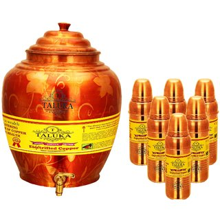 Taluka Apple Design Pure Copper Water Pot Dispenser Matka Water Tank Water Storage Capacity - 16 Liter Weight - 1600 Grams Set With 6 Copper Bottle 800 ML for use Storage Drinking Water Restaurant Hotel Home Ware Gift Item Home Decore Good Health Benefi