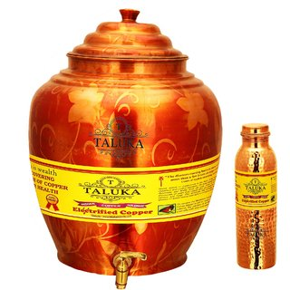 Taluka T-APPWP-1LHJLBC1P Copper Water Pot 16 Liter With Set 1000 ML Hammer Leak Proof Bottle