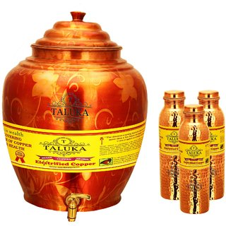 Taluka T-APPWP-1LHJLBC3P Copper Water Pot 16 Liter With Set 3 (1000 ML) Hammer Leak Proof Bottle