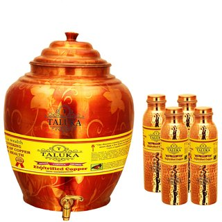 Taluka T-APPWP-1LHJLBC4P Copper Water Pot 16 Liter With Set 4 (1000 ML) Hammer Leak Proof Bottle