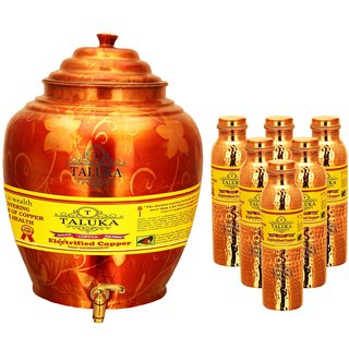 Taluka T-APPWP-1LHJLBC6P Copper Water Pot 16 Liter With Set 6 (1000 ML) Hammer Leak Proof Bottle
