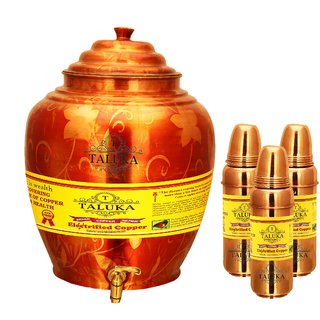 Taluka Apple Design Pure Copper Water Pot Dispenser Matka Water Tank Water Storage Capacity - 16 Liter Weight - 1600 Grams Set With 3 Copper Water Bottle 800 ML Each Bottle for use Storage Drinking Water Restaurant Hotel Home Ware Gift Item
