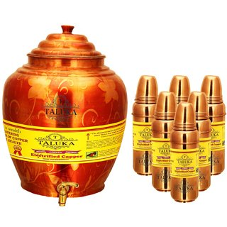 Taluka Apple Design Pure Copper Water Pot Dispenser Matka Water Tank Water Storage Capacity :- 16 Liter Weight :- 1600 Grams Set With 6 Copper Water Bottle 800 ML Each Bottle for use Storage Drinking Water Restaurant Hotel Home Ware Gift Item