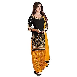 Dharma Fabric Multicolor Printed Art Silk Salwar Suit Material