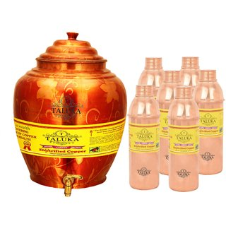 Taluka Apple Design Pure Copper Water Pot Dispenser Matka Water Tank Water Storage Capacity :- 16 Liter Weight :- 1600 Grams With Handmade Set 6 Copper Bottle 800 ML Each for use Storage Drinking Water Restaurant Hotel Home Ware Gift Item