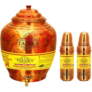 Taluka Apple Design Pure Copper Water Pot Dispenser Matka Water Tank Water Storage Capacity - 16 Liter Weight - 1600 Grams Set With 2 Copper Water Bottle 800 ML Each Bottle for use Storage Drinking Water Restaurant Hotel Home Ware Gift Item