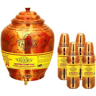 Taluka Apple Design Pure Copper Water Pot Dispenser Matka Water Tank Water Storage Capacity - 16 Liter Weight - 1600 Grams Set With 4 Copper Water Bottle 800 ML Each Bottle for use Storage Drinking Water Restaurant Hotel Home Ware Gift Item