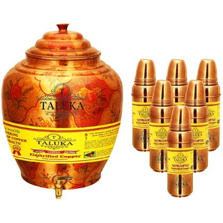 Taluka Apple Design Pure Copper Water Pot Dispenser Matka Water Tank Water Storage Capacity - 16 Liter Weight - 1600 Grams Set With 6 Copper Water Bottle 800 ML Each Bottle for use Storage Drinking Water Restaurant Hotel Home Ware Gift Item
